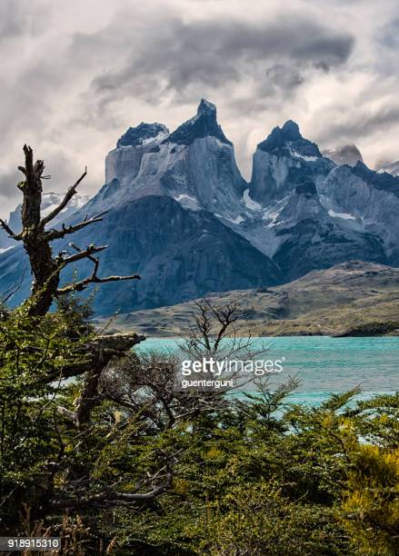 torres del paine on an overcasted day, patagonia, chile - torres del paine national park stock photos and pictures
