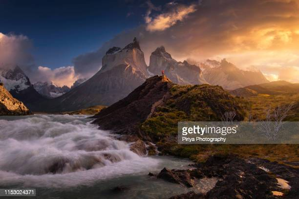 torres del paine waterfall - chile stock pictures, royalty-free photos & images