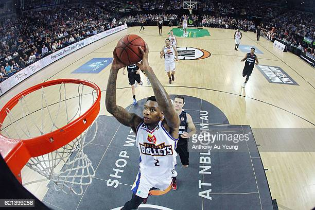 Torrey Craig of Brisbane with a dunk during the round five NBL match between the New Zealand Breakers and the Brisbane Bullets at Vector Arena on...