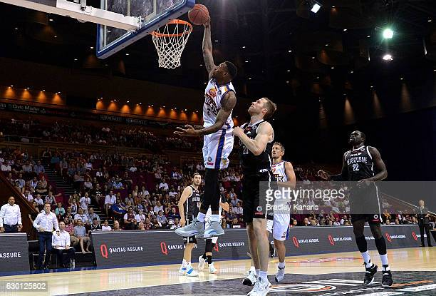 Torrey Craig of the Bullets slam dunks during the round 11 NBL match between Brisbane and Melbourne at the Brisbane Convention Exhibition Centre on...