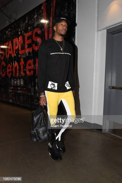 Torrey Craig of the Denver Nuggets arrives to the arena before a game against the LA Clippers on October 17 2018 at Staples Center in Los Angeles...