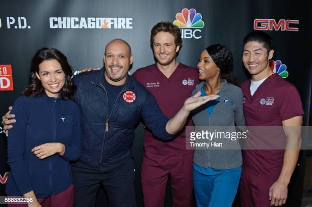 Torrey Devito Joe Minoso Nick Gehlfuss Yaya DaCosta and Brian Tee attend the press junket for 'One Chicago' on October 30 2017 in Chicago Illinois