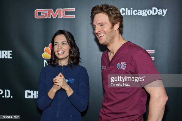 Torrey Devitto and Nick Gehlfuss attend the press junket for 'One Chicago' on October 30 2017 in Chicago Illinois