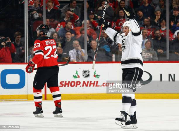 Torrey Mitchell of the Los Angeles Kings celebratees his goal at 1204 of the third period against the New Jersey Devils at the Prudential Center on...