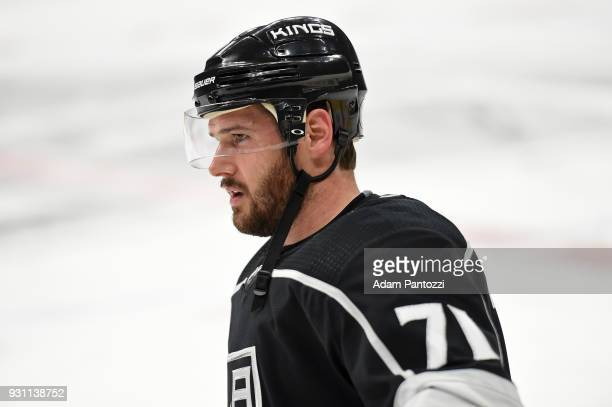 Torrey Mitchell of the Los Angeles Kings looks on before a game against the Vancouver Canucks at STAPLES Center on March 12 2018 in Los Angeles...