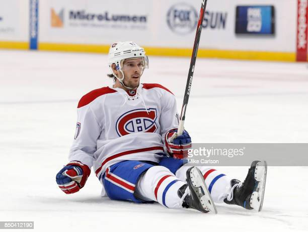 Torrey Mitchell of the Montreal Canadiens reacts against the Tampa Bay Lightning during the first period at Amalie Arena on December 28 2016 in Tampa...