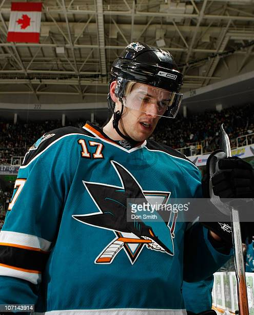Torrey Mitchell of the San Jose Sharks heads to the locker room against the Columbus Blue Jackets during an NHL game on November 20 2010 at HP...