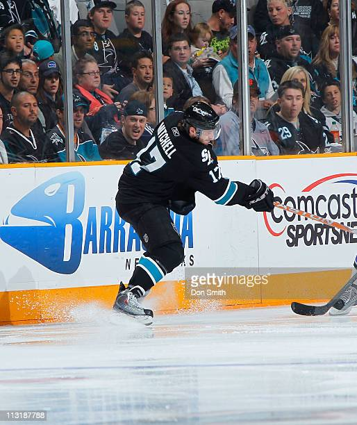 Torrey Mitchell of the San Jose Sharks passes the puck against the Los Angeles Kings in Game 5 of the Western Conference Quarterfinals during the NHL...