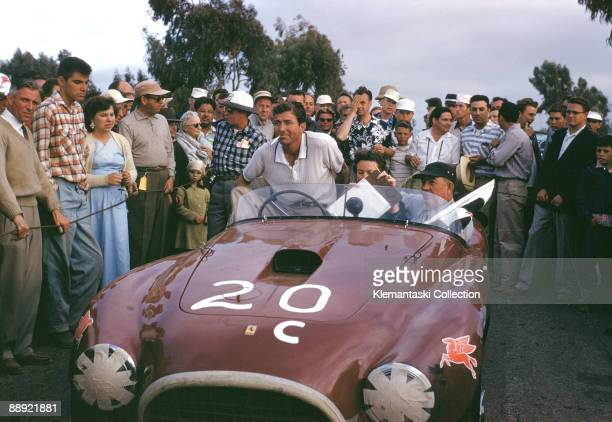 Torrey Pines California July 11 1955 Carroll Shelby with Alan Guiberson in the latter's Ferrari 375MM which Shelby had just driven to victory in its...