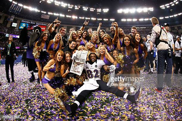 Torrey Smith of the Baltimore Ravens celebrates with the Ravens cheerleaders following their win against the San Francisco 49ers during Super Bowl...