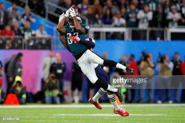 Torrey Smith of the Philadelphia Eagles catches a 15yard reception during the first quarter against the New England Patriots in Super Bowl LII at US...