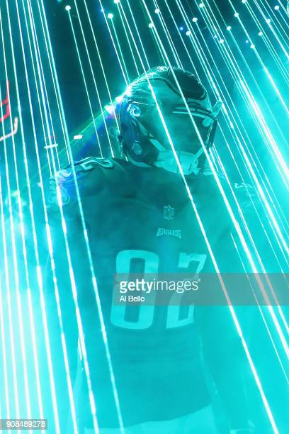 Torrey Smith of the Philadelphia Eagles walks out on to the field prior to the NFC Championship game against the Minnesota Vikings at Lincoln...