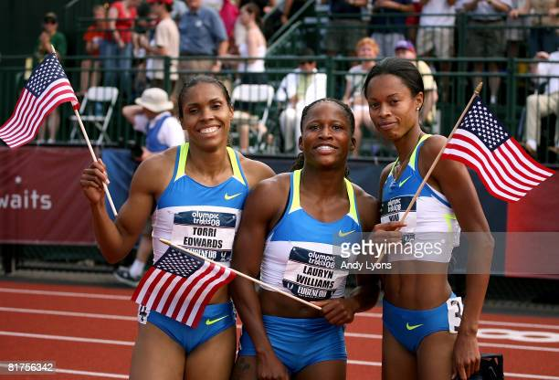 Torri Edwards Lauryn Williams and Muna Lee pose for photographers after placing in the top three to make the US Olympic team in the women's 100 meter...