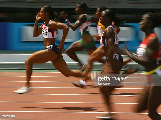 Torri Edwards of the United States of America on her way to finishing first in her Women's 100m heat on day two of the 11th IAAF World Athletics...