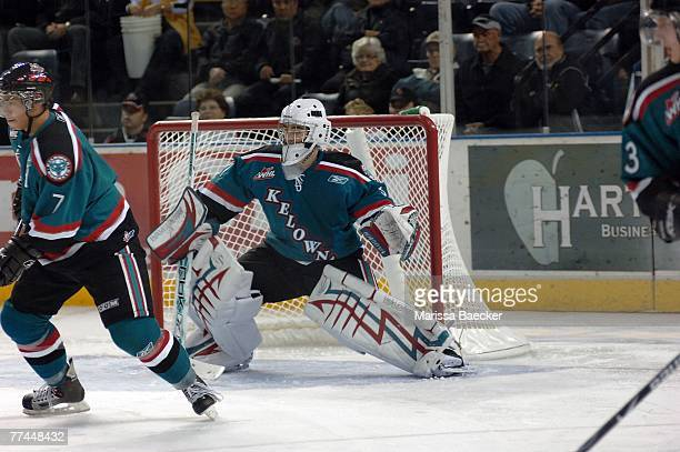 Torrie Jung of the Kelowna Rockets defends the goal against the Seattle Thunderbirds on October 5 2007 at Prospera Place in Kelowna British Columbia...
