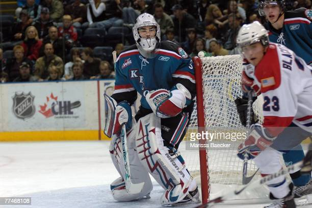 Torrie Jung of the Kelowna Rockets defends the net against the Spokane Chiefs at Prospera Place on October 20 2007 in Kelowna British Columbia Canada