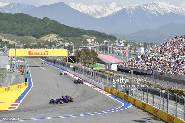 Torro Rosso's Spanish driver Carlos Sainz Jr steers his car during the Formula One Russian Grand Prix at the Sochi Autodrom circuit in Sochi on April...
