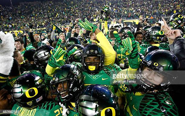 Torrodney Prevot of the Oregon Ducks celebrates a 3635 victory against the Oregon State Beavers during the 117th playing of the Civil War on...