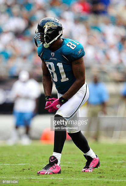 Torry Holt of the Jacksonville Jaguars lines up during the game against the Tennessee Titans at Jacksonville Municipal Stadium on October 4 2009 in...