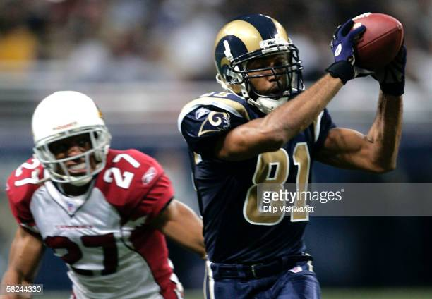 Torry Holt of the St Louis Rams catches a pass against David Macklin of the Arizona Cardinals at the Edward Jones Dome November 20 2005 in St Louis...