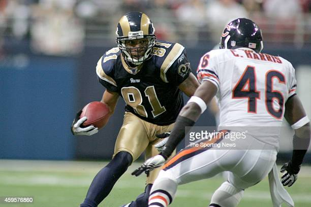 Torry Holt of the St Louis Rams runs with the ball during a game against the Chicago Bears on December 11 2006 at the Edward Jones Dome Stadium in St...