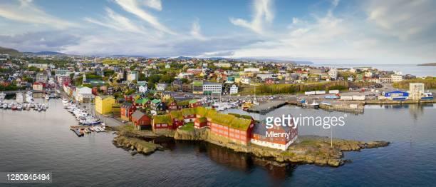 torshavn cityscape panorama faroe islands tórshavn streymoy island - torshavn stock pictures, royalty-free photos & images