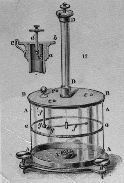 A torsion balance, invented by French physicist Charles...