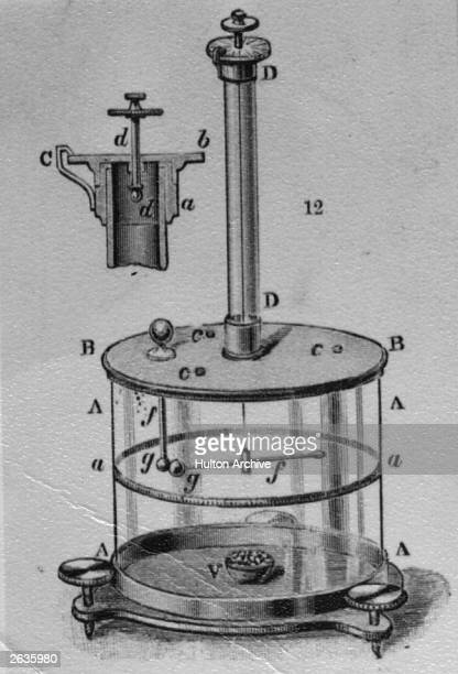 A torsion balance invented by French physicist Charles Augustin de Coulomb for measuring the force of magnetic and electrical attraction