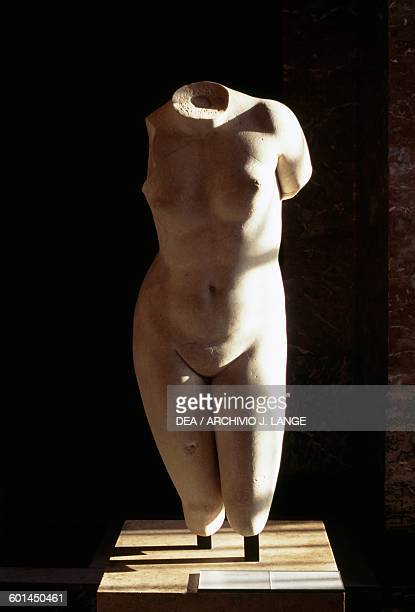 Torso of the Aphrodite of Knidos type, Roman copy after the Greek statue by Praxiteles, 4th century BC, marble. Roman civilisation, 2nd century AD....