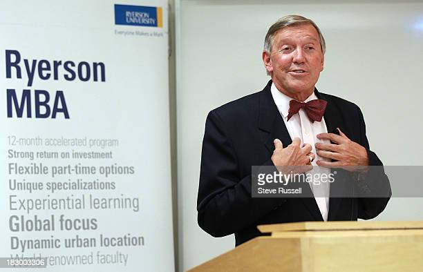 Torstar Corporation chair John Honderich addresses Ryerson University's second annual MBA student speaker series at Ted Rogers School of Management...