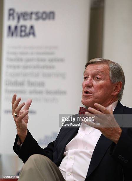 TORONTO ON OCTOBER 3 Torstar Corporation chair John Honderich addresses Ryerson University's second annual MBA student speaker series at Ted Rogers...
