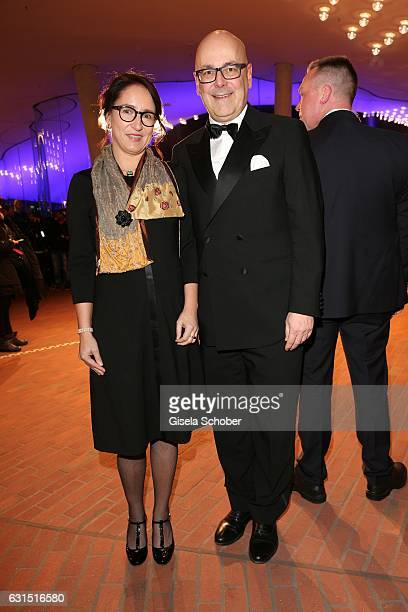 Torsten Albig and his wife Gabriele Albig State Governor SchleswigHolstein during the opening concert of the Elbphilharmonie concert hall on January...