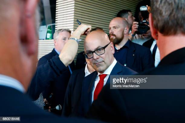 Torsten Albig incumbent candidate of the German Social Democrats gets prepared for a TV interview at the SchleswigHolstein state parliament building...