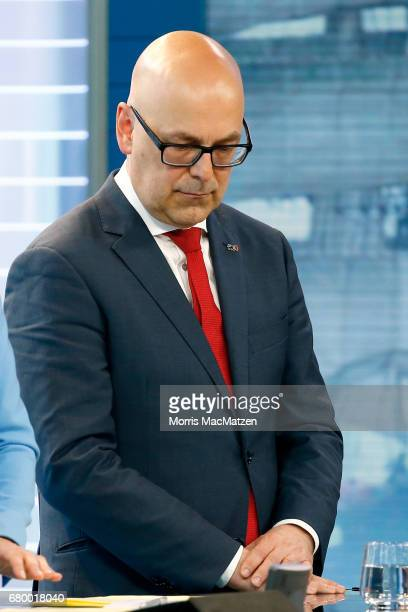 Torsten Albig incumbent candidate of the German Social Democrats is seen in a TV studio at the SchleswigHolstein state parliament building after...