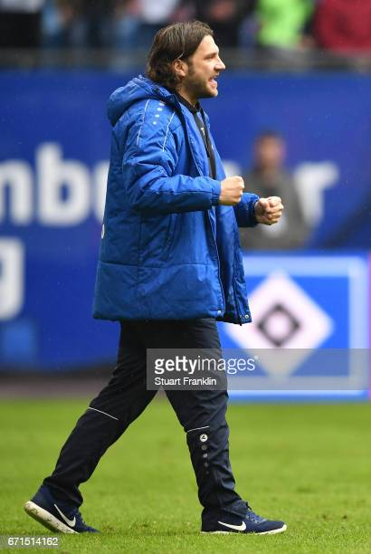 Torsten Frings head coach of Darmstadt celebrates at the final whistle of the Bundesliga match between Hamburger SV and SV Darmstadt 98 at...