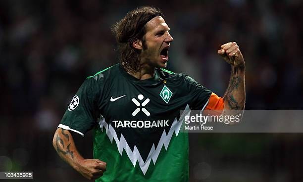 Torsten Frings of Bremen celebrates after scoring his team's 2nd goal during the Uefa Champions League qualifying match between Werder Bremen and...