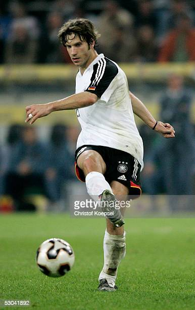 Torsten Frings of Germany passes the ball during the friendly match between Germany and Russia on June 8 2005 in Monchengladbach Germany