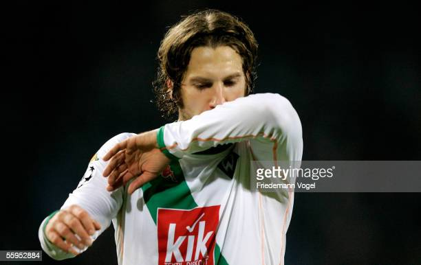 Torsten Frings of Werder looks dejected after the Champions League Group C match between Udine Calcio and Werder Bremen at the Friuli Stadium on...