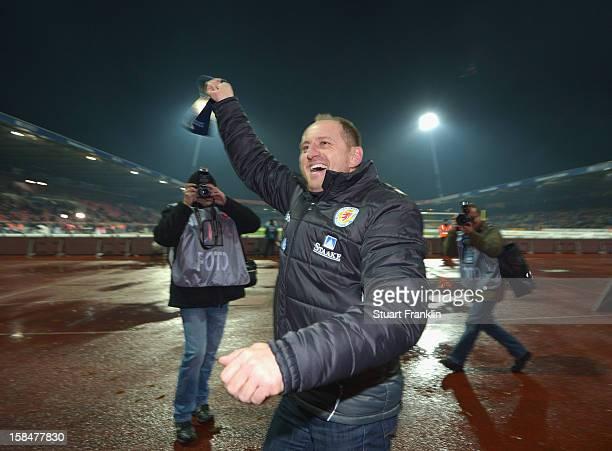 Torsten Lieberknecht, head coach of Braunschweig celebrates at the end of the Second Bundesliga match between Eintracht Braunschweig and1. FC Union...