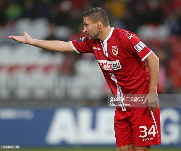 Torsten Mattuschka of Cottbus gestures during the third league match between FC Energie Cottbus and VFL Osnabrueck at Stadion der Freundschaft on...