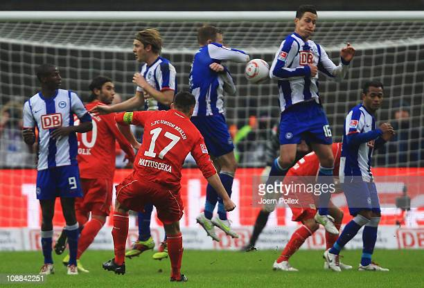 Torsten Mattuschka of Union scores his team's second goal during the Second Bundesliga match between Hertha BSC Berlin and Union Berlin at Olympic...