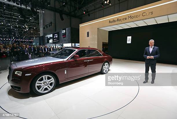 Torsten MuellerOetvoes chief executive officer of RollsRoyce Motor Cars Ltd pauses as he launches the company's Ghost Series II luxury automobile at...