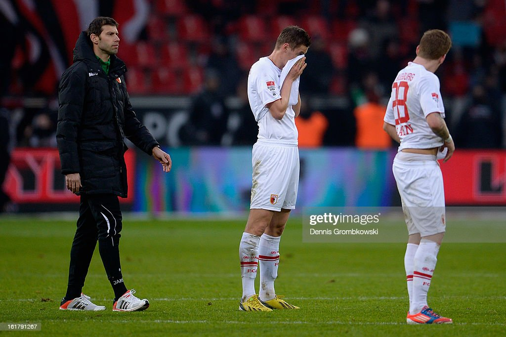 Torsten Oehrl of Augsburg reacts after the Bundesliga match between Bayer 04 Leverkusen and FC Augsburg at BayArena on February 16, 2013 in Leverkusen, Germany.