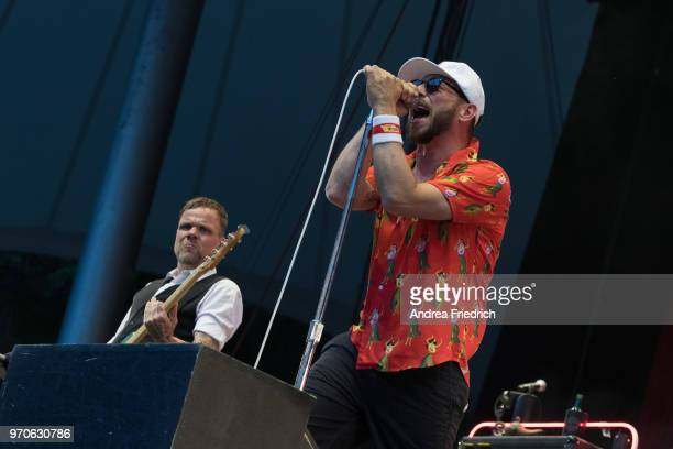 Torsten Scholz and Arnim Teutoburg-Weißof the German band Beatsteaks performs live on stage during a concert at Waldbuehne Berlin on June 9, 2018 in...