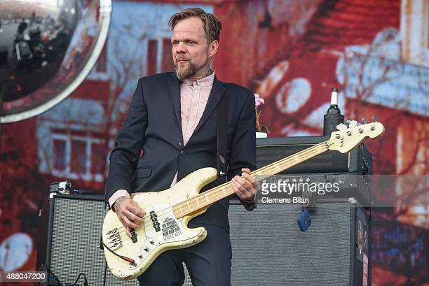 Torsten Scholz of the band Beatsteaks performs live on stage during the second day of the Lollapalooza Berlin music festival at Tempelhof Airport on...