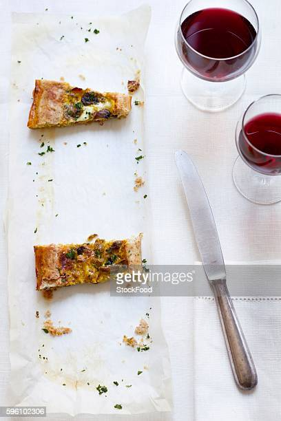 Torta rustica (savoury cake with mushrooms and Scamorza cheese, Italy)