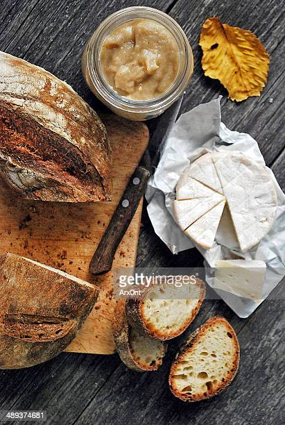 tortano bread with homemade apple mustard - camembert stock photos and pictures
