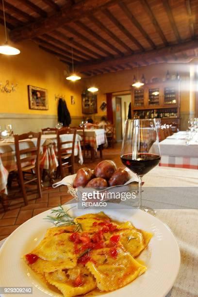 Tortelli of Cetica Red Potato and lard Antica Fonte restaurant Arezzo Tuscany Italy