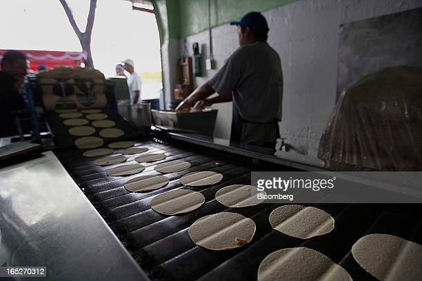 Tortillas move along the conveyor belt of a machine in a tortilla bakery at the Zona Rosa in Mexico City Mexico on Monday April 1 2013 Mexico's...