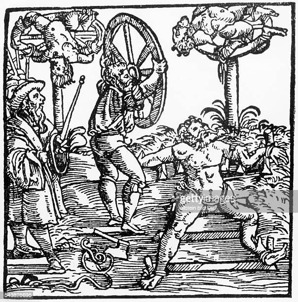 torture in medieval times breaking on the wheel woodcut 16th century